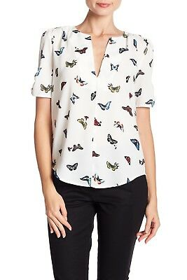 23f4248032e349 JOIE AMONE PLEATED Butterfly Print Silk Blouse, XSmall - $59.99 ...