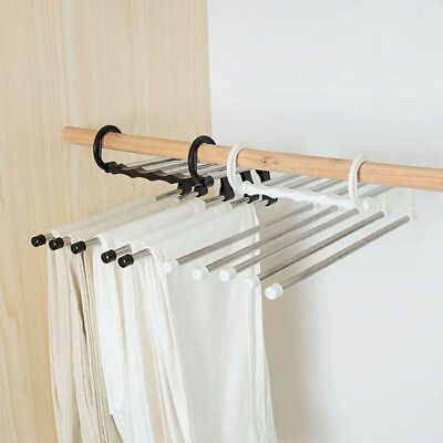JT_ Multi-Layer Clothes Pants Hangers Wardrobe Jeans Storage Rack Space Saving