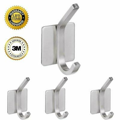 4 Pieces Self Adhesive Hooks For Robe Coat Bag Stick On Wall Stainless Steel