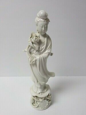 "Antique Chinese BLANC de CHINE Kwan-Yin Goddess of Mercy 12.25"" Figurine"