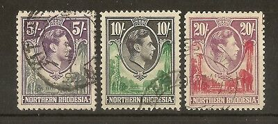 Northern Rhodesia 1938 Top Values SG43-45 Fine Used Cat£133