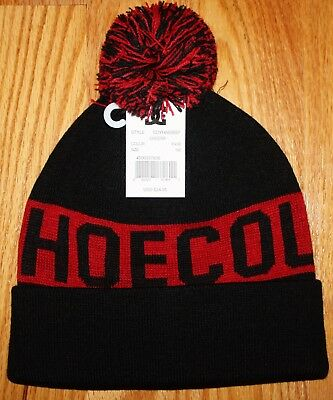 Dc Shoes Chester Black And Red Osfm With Pom Knit Beanie Ski Hat Cap New Nwt 71690cf42587