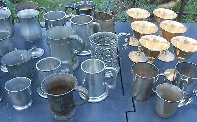 Bulk Quantity Goblets & Beer Mugs / Tankards - Pewter Silver Plated Etc