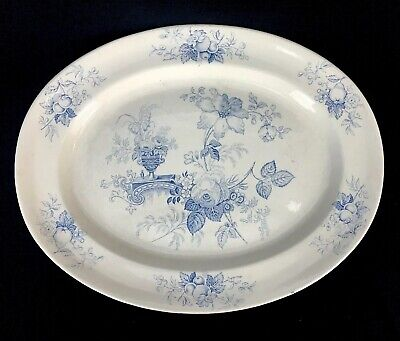 Antique 19th C Light Blue Staffordshire Transferware Oval Platter Urn Flowers