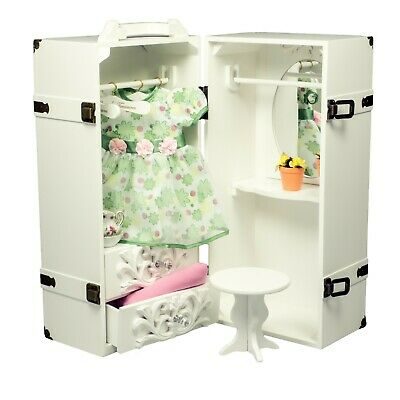"""Clothes Storage Trunk Case, Hanger For 18 """" Inch American Girl Doll Furniture WH"""