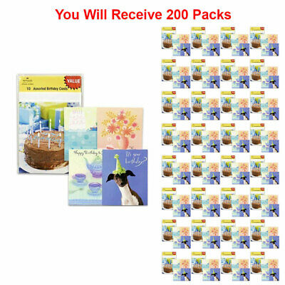 200 Pack Hallmark Assorted Happy Birthday Card Greeting Gift Wish Party New
