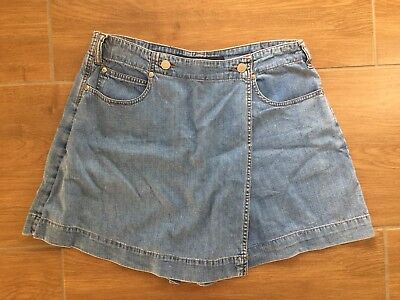 Vintage Just Jeans Blue High Waist Denim Skort Skirt Shorts Size 12 100% Cotton