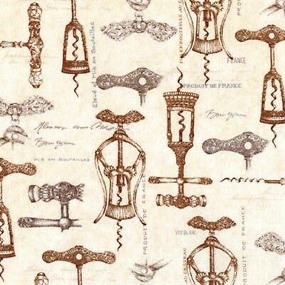 Vineyard Collection Vintage French Wine Openers Cotton Fabric by the Yard