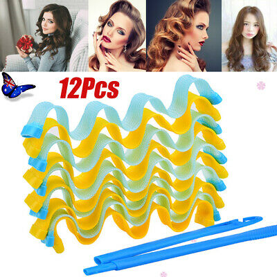 Magic Hair Curler DIY 12Pcs Water Wave Curlers Curl Formers Spiral Roll 30-45cm