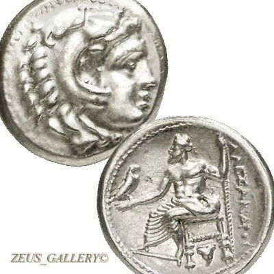 Rare ALEXANDER the Great LIFETIME Drachm Ancient Greek Silver Coin Rose Herakles