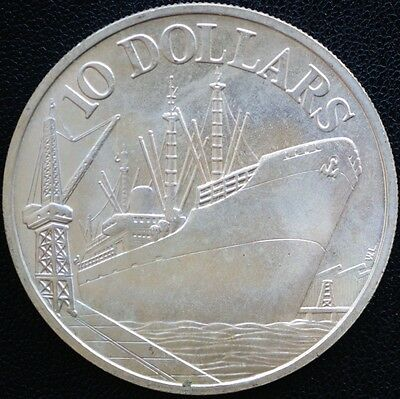1977 Singapore 10 Dollars KM# 15 Silver MS UNC Coin