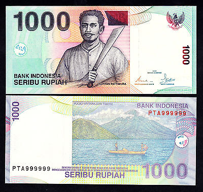 Indonesia 1000 Rupiah 2000 / 2008 UNC Fancy Solid Serial 999999  P. 141i