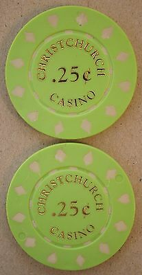Christchurch Casino - New Zealand -2 Casino Chips 25c - First Issue