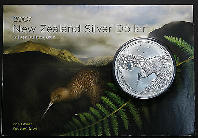 2007 New Zealand  Kiwi $1 Dollar 1oz .999  Silver Coin on Card 5000 Minted RARE