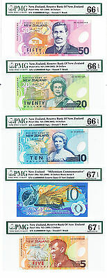 New Zealand 2000 Millenium Set $5 - $50 Matching #s PMG 66 & 67 Only 1000 Issued