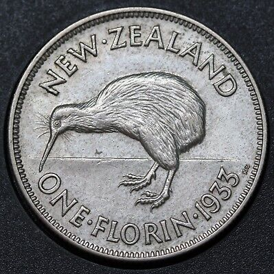 1933 NZ New Zealand Florin KM# 4 Silver George V Coin gEF