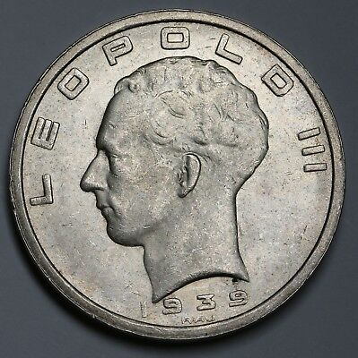 1939 Belgium Silver 50 Francs Coin KM#122.1  Position B With Cross On Crown