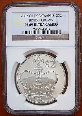 2002 Cayman Islands $2 Silver Proof Gold Plated Ngc Pf69 Uc British Crown Rare Coins