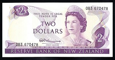 New Zealand $2 Fleming 1967-68  Prefix OB3  P. 164a QEII RARE UNC Note