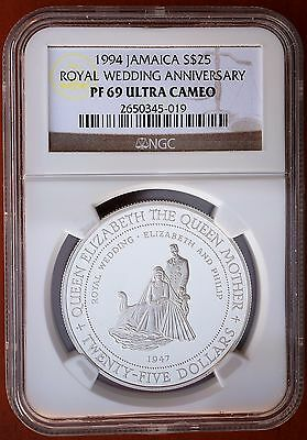 1994 Jamaica 25 Dollars  Silver Proof Queen Mother Royal Wedding NGC PF69 UCAM
