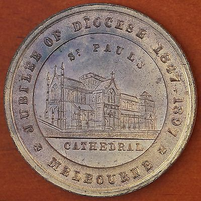 Australia 1897 Diocese Jubilee Melb. St. Pauls Cathedral Gilt Medal C.1897/40 *