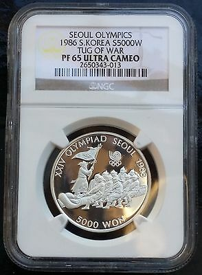 1986 Korea South 5000 Won KM# 55 Silver Proof Coin NGC PF65 UCAM Tug of War