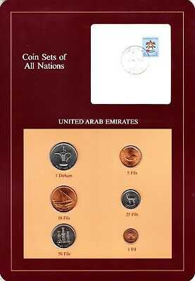 UAE Emirates Coin Sets of All Nations 6 BU Coins 1 Fils - 1 Dirham 1973 - 1984