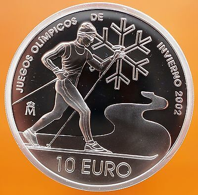 2002 Spain 10 Euro Proof .925 Silver Coin Salt Lake City Winter Olympics KM#1078