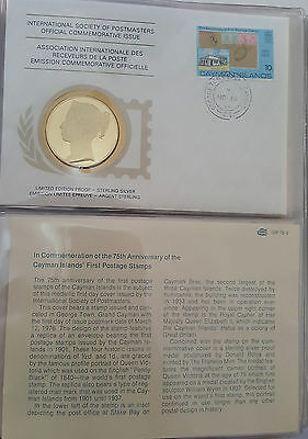 1976 Cayman Is. Intl. Society of Postmasters 925 Silver Proof Medal  FDC Cover