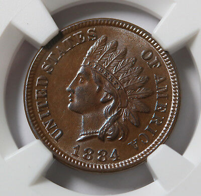 US 1884 Cent Penny Coin NGC MS63 BN Chocoloate Brown Beauty