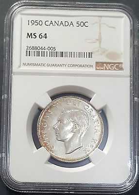 1950 Canada 50 Cents KM# 45  Silver Prooflike Coin NGC MS64 George VI