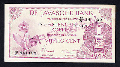 NETHERLANDS INDIES 1948 De Javasche Bank Specimen 1/2 Gulden  P.97 RARE NOTE