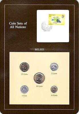Belize Coin Sets of All Nations 5  BU Coins  1 Cent - 50 Cents 1979 - 1983