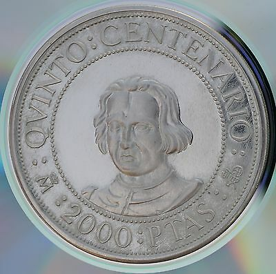 1989 Spain 2000 Pesetas KM# 838  Sterling Silver Proof Coin Discovery of America