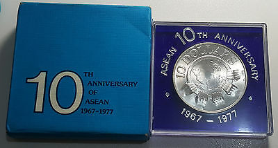 1977 Singapore 10 Dollars Silver Coin ASEAN 10th Anniversary BU Full Packaging