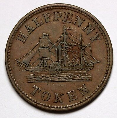 Canada Fisheries & Agriculture Halfpenny Token High Grade RARE - C.1850 Nice