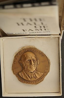 1963 US New York NY Uni Hall of Fame Series  Mark Hopkins  Bronze Cased Medal