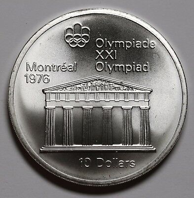 1974 Canada 10 Dollars $10  1.44oz Silver Coin Montreal Olympics Stunning Luster