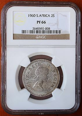 1960 South Africa 2 Shillings KM# 50 Silver Proof NGC PF66 2nd Top Grade Coin