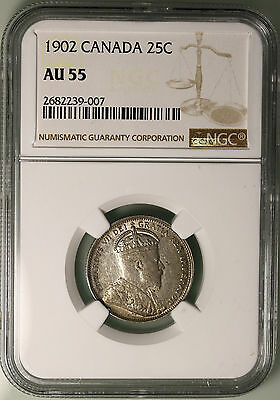 1902 Canada 25 Cents KM# 11 Sterling Silver Coin NGC AU55