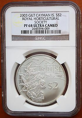 2003 Cayman Islands $2 Silver Proof Coin NGC PF68 UC Royal Horticultural Society