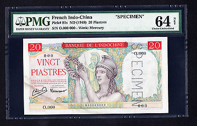 French Indo China 20 Piastres ND 1949  P. 81 SPECIMEN Note PMG 64 Choice UNC NET