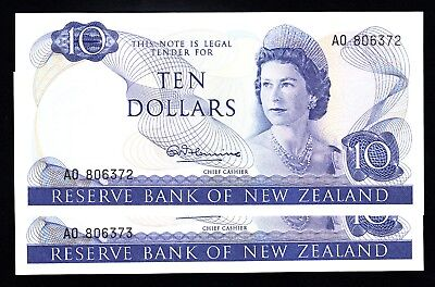 New Zealand $10 Fleming 1967-1968 Crisp gEF/AU Cons.Notes 1st Prefix AO P. 166a