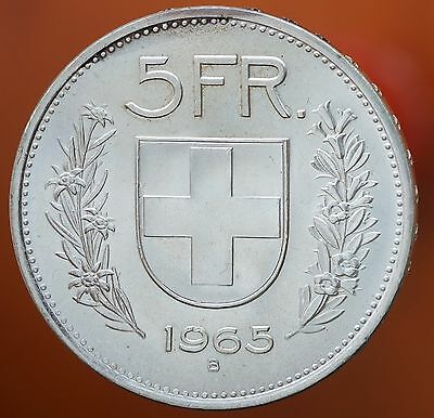 1965 B Switzerland William Tell 5 Francs KM# 40 Silver Prooflike BU Coin
