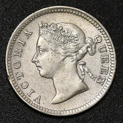 1899 Straits Settlements 5 Cents Silver Q.Victoria EF Coin Low Mintage 78,000