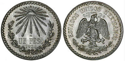 1924 M Mexico Silver Peso Coin KM# 455 Cap & Rays AU/ UNC ++Lustre Beauty