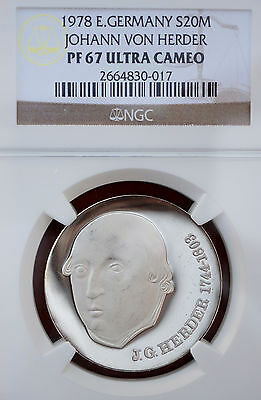 1978 Germany DDR Silver Proof 20 Mark NGC PF67 UCAM J.V. Herder Rare 4500 Minted