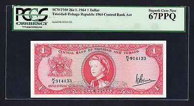 Trinidad and Tobago Central Bank $1 1964 P. 26c  PCGS Superb Gem New 67PPQ QEII