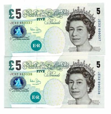 Bank of England 5 Pounds ND 2004 JE 54 Consecutive Pair UNC Notes Bailey P.391c
