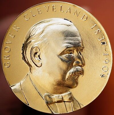 Grover Cleveland Medallic Art Bronze Medal  Gold Plated 45mm BU Hall of Fame NYU